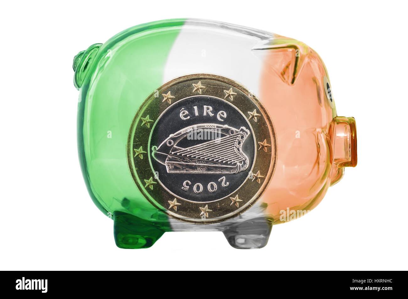 Piggy bank in Irish national colours with Irish euro, state crisis Ireland, Sparschwein in irischen Nationalfarben Stock Photo