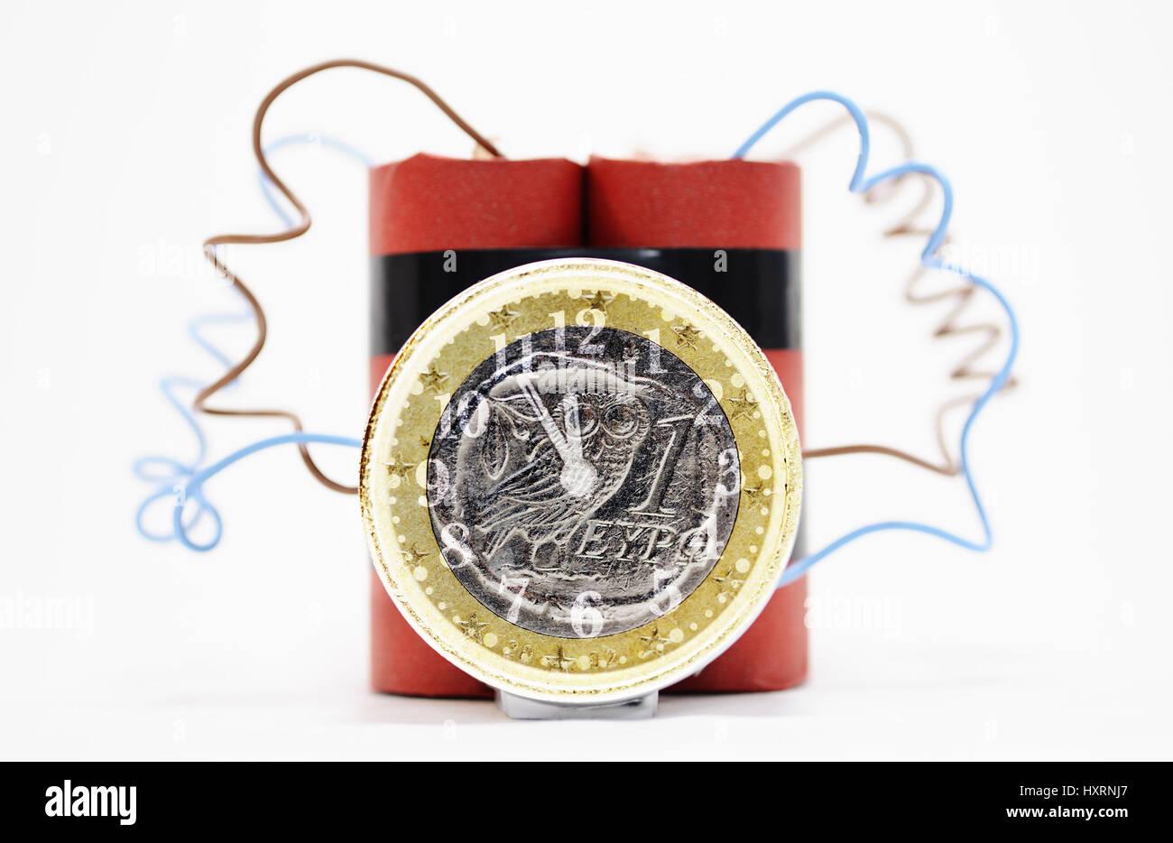 Time bomb with Greek euro, state deficit Greece, Zeitbombe mit griechischem Euro, Staatsdefizit Griechenland - Stock Image