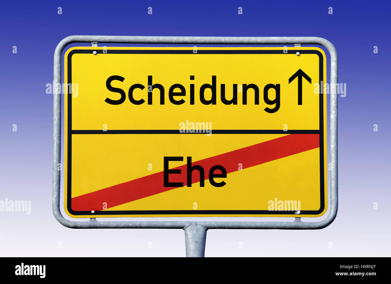 Local sign Separation, End marriage, Ortsschild Scheidung, Ende Ehe - Stock Image