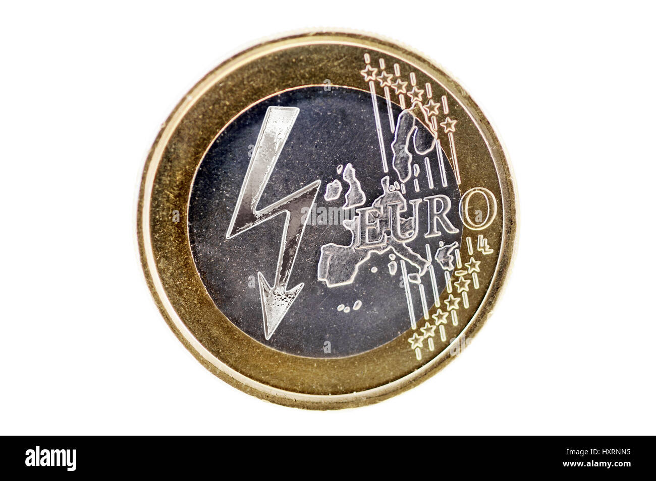 Euro-coin one with stream arrow, symbolic photo rising stream costs, Ein-Euro-Münze mit Strompfeil, Symbolfoto - Stock Image