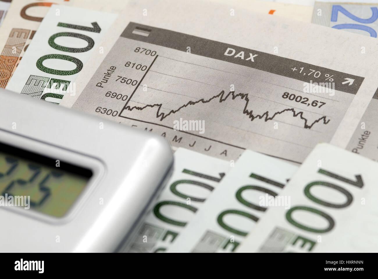Money, euro, euros, bank notes, bank note, pocket calculator.