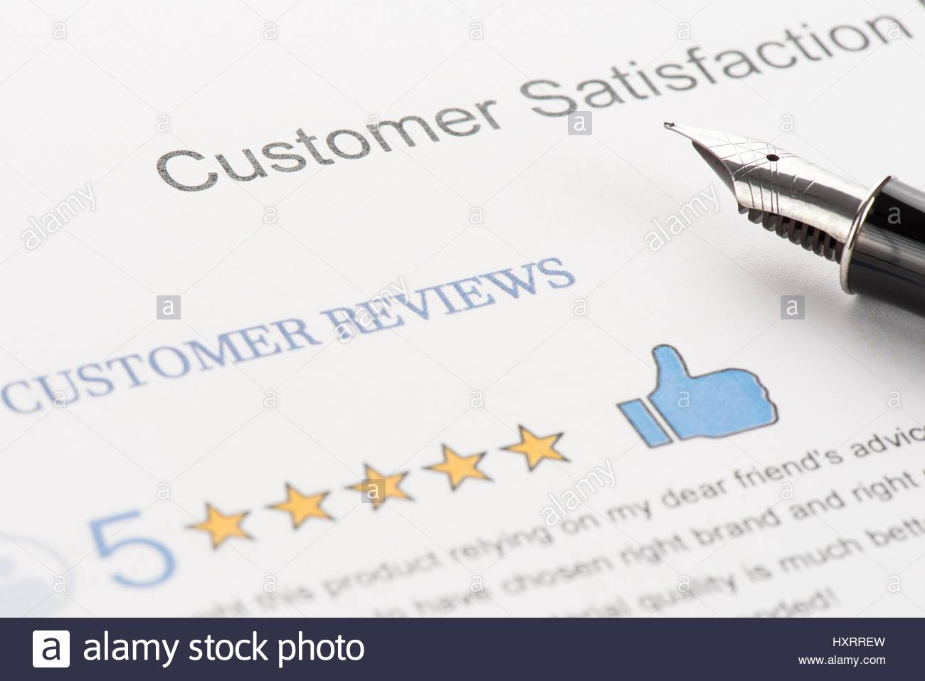 Customer Reviews Attachment to Customer Satisfaction Report - Stock Image
