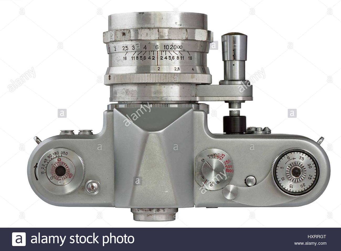 Soviet 35 mm Film SLR Photo Camera with automated diaphragm option (1950's) - Stock Image