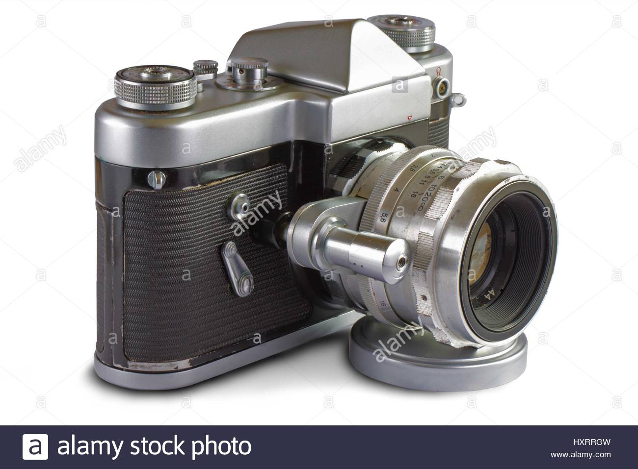 Soviet 35 mm Film SLR Photo Camera with automated diaphragm option (1950's) - Stock Image