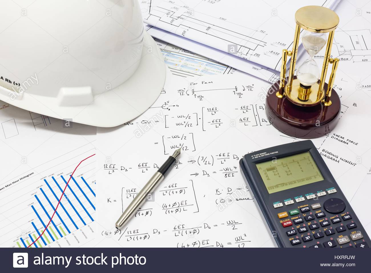 Desk of civil design engineer who has just made structural analysis desk of civil design engineer who has just made structural analysis calculations using a scientific calculator ccuart Images