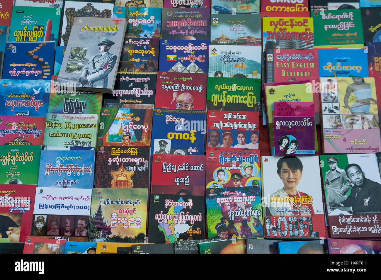 27.01.2017, Yangon, Republic of the Union of Myanmar, Asia - The display of a bookseller in the center of the former - Stock Image