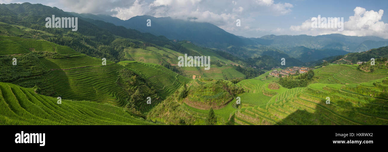 longji rice terraces dazhai village Stock Photo