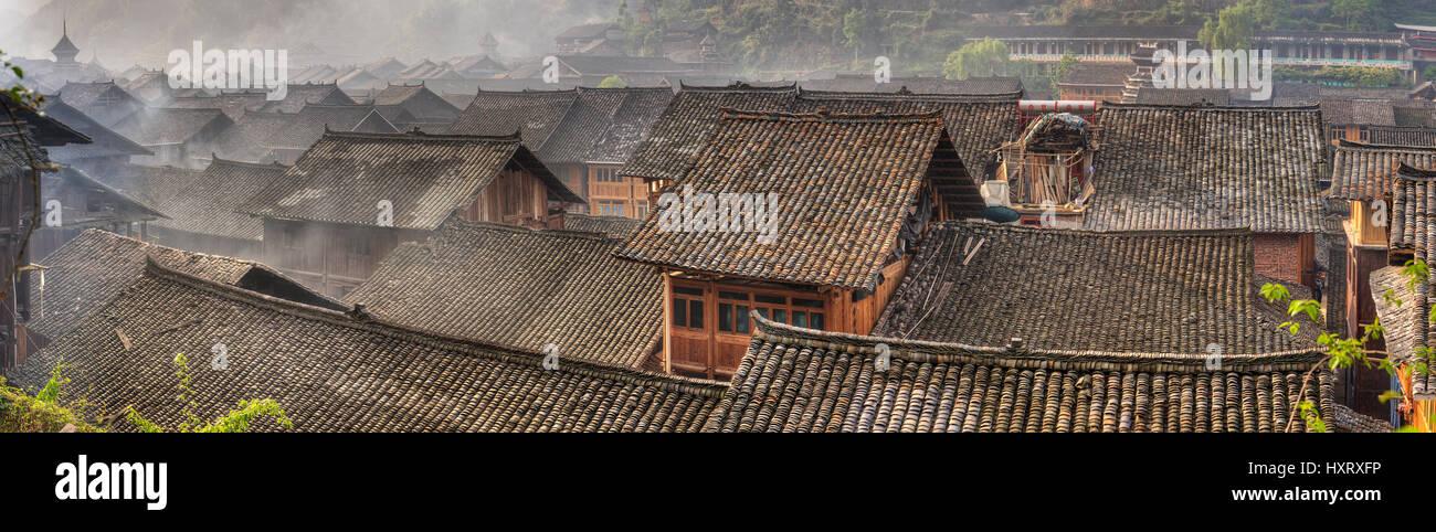 Zhaoxing Village, Guizhou Province, China -  April 9, 2010: Liping County, Qiandongnan Miao and Dong Autonomous Stock Photo