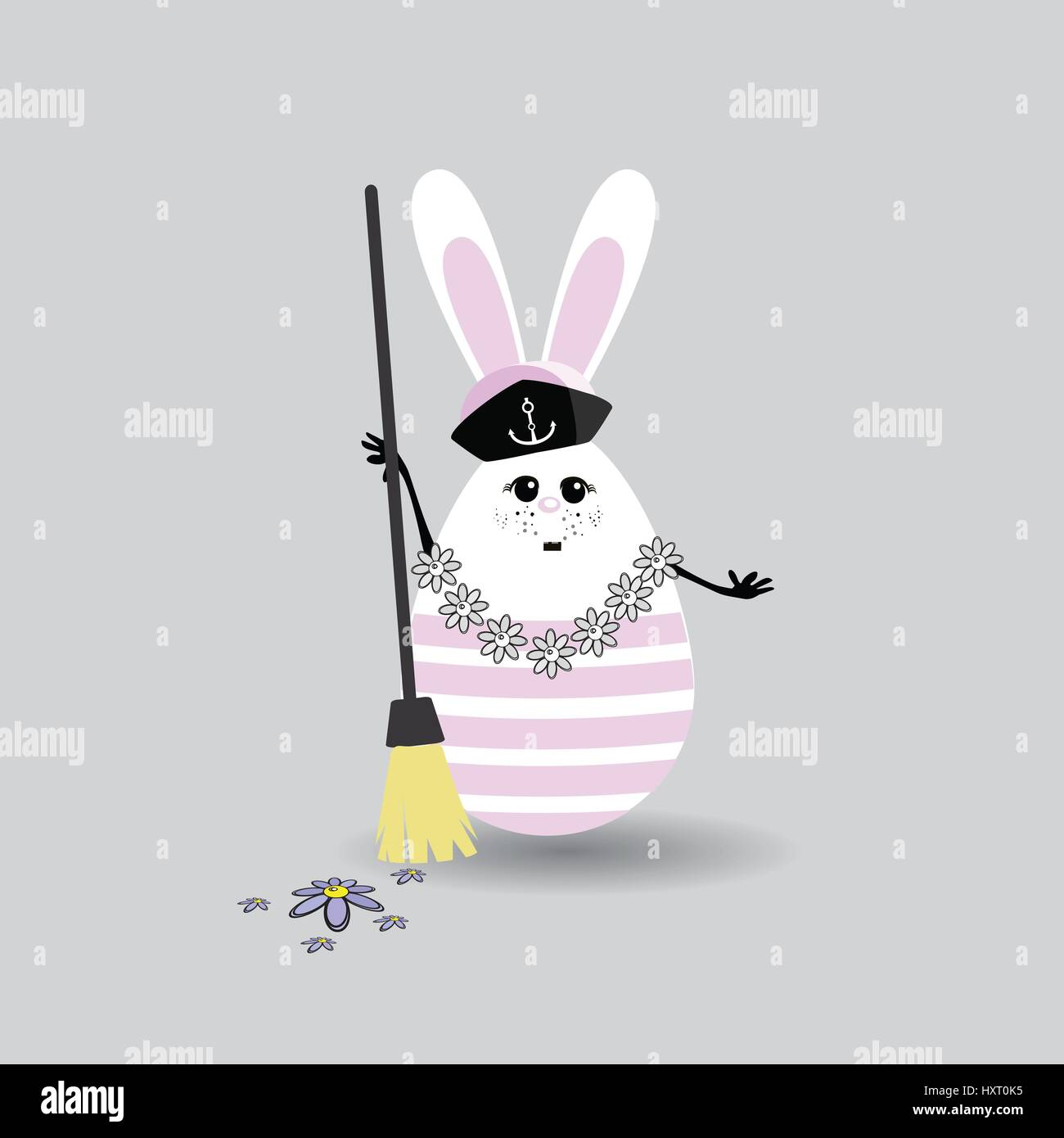 Broom Stick Bunny Mirror: Mopping The Floor Stock Vector Images