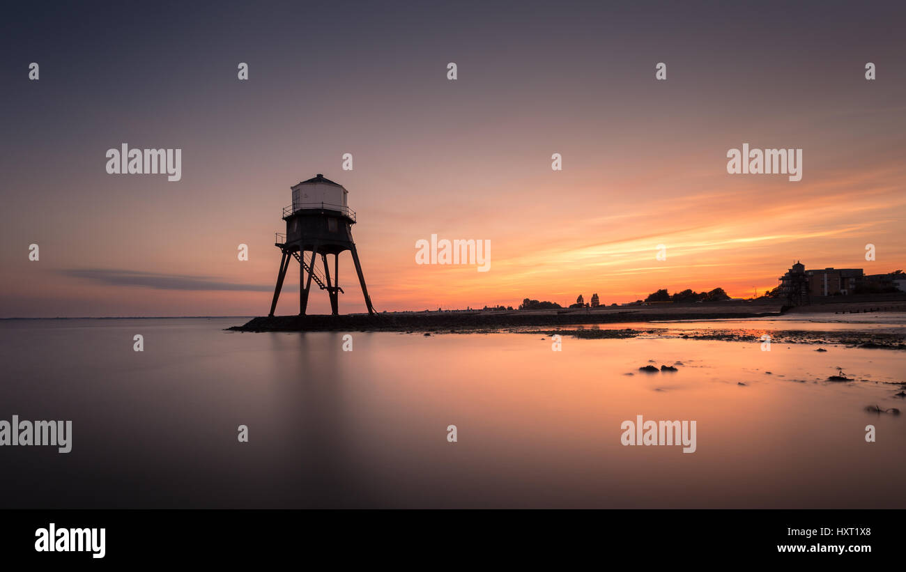 Dovercourt Victorian disused Lighthouse, England in Sunset Stock Photo