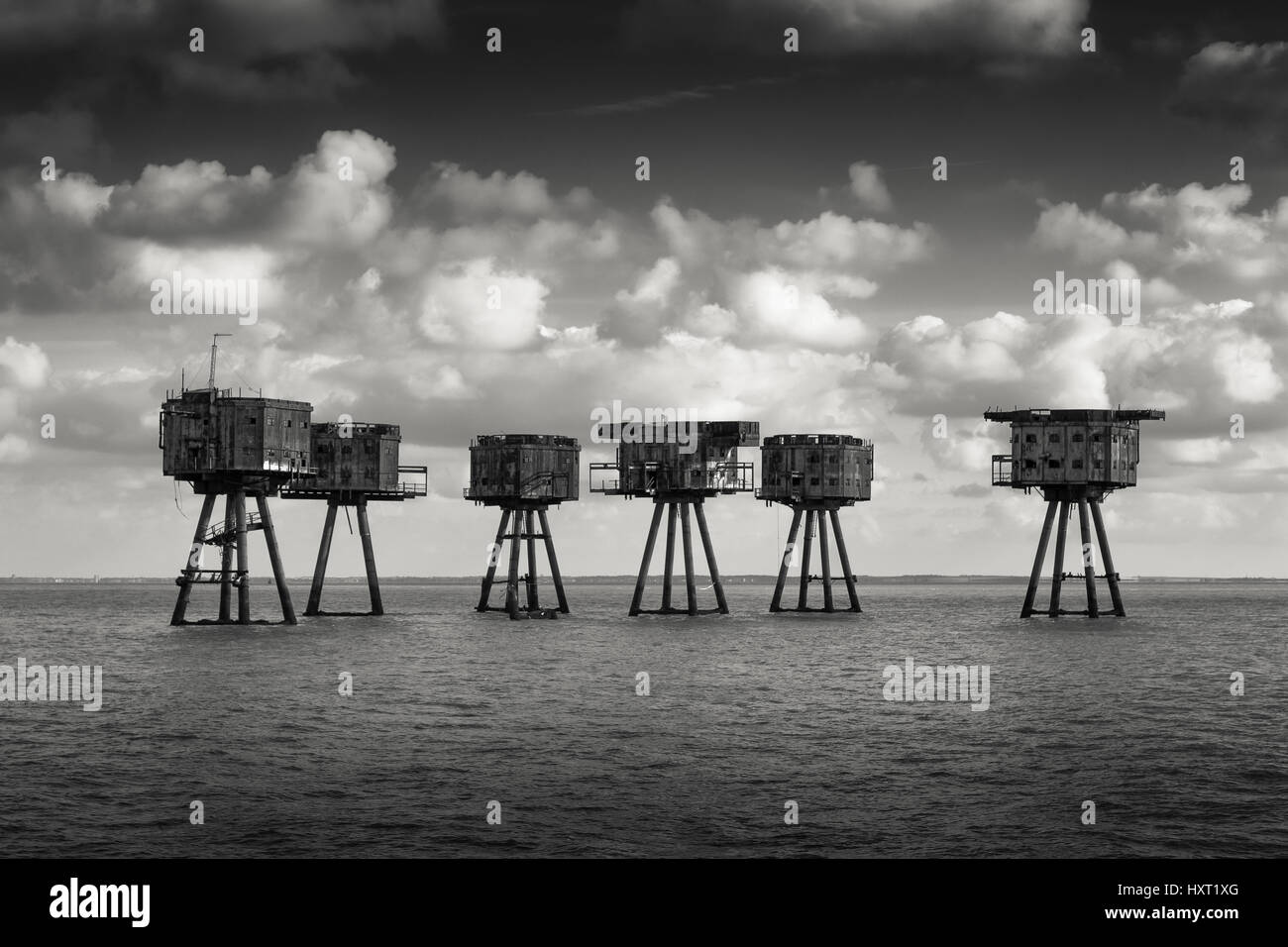 Maunsell naval forts - Red Sands sea forts - Stock Image