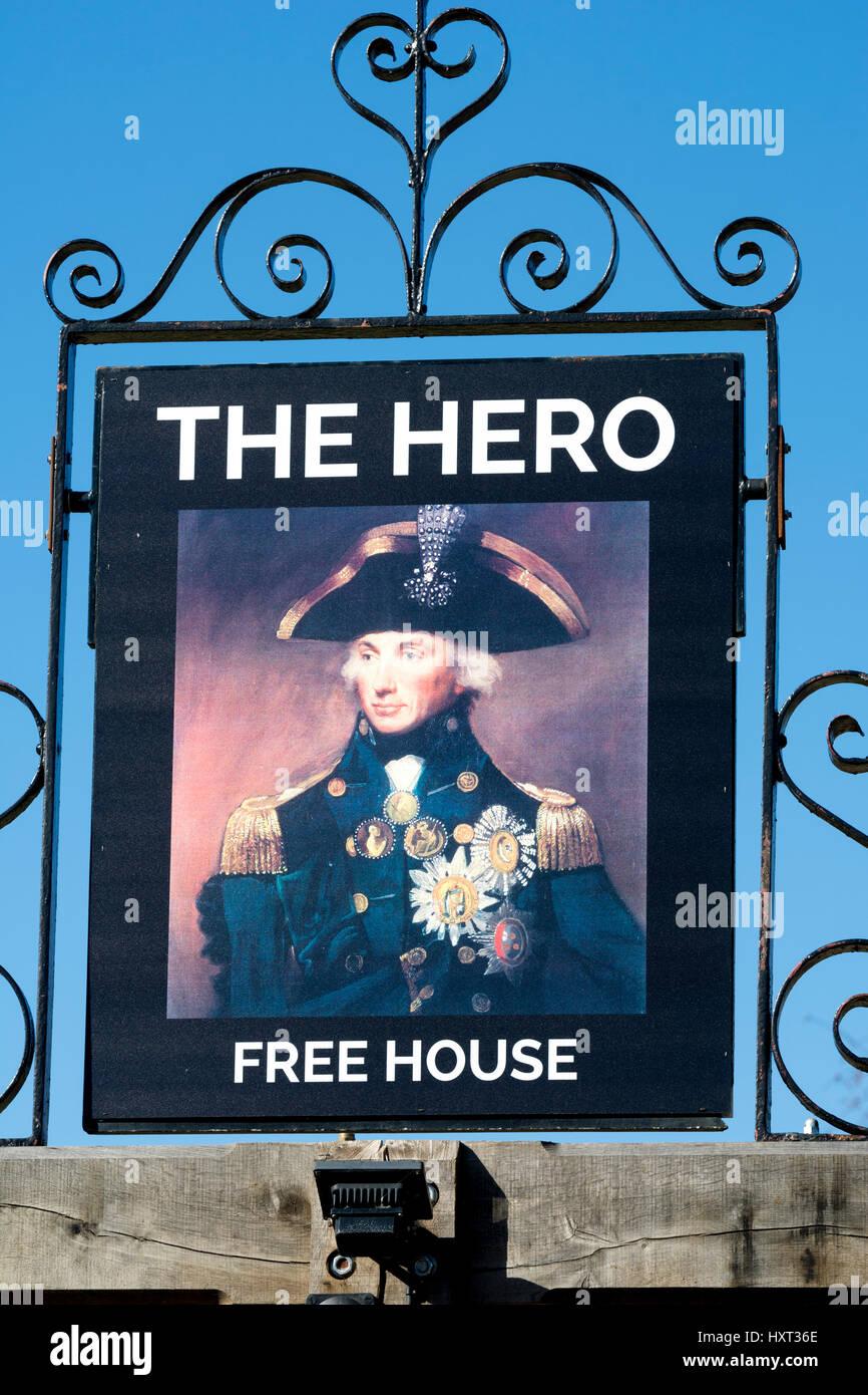 The Hero pub sign, Burnham Overy Staithe, Norfolk, England, UK - Stock Image