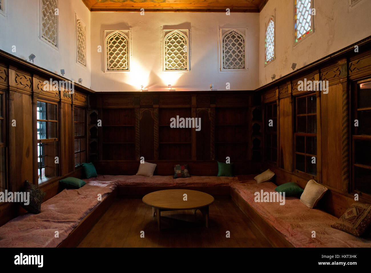 living room of ancient arabic house in the garden of the Archeological Museum in the ancient city of Rhodes, Dodecanese, - Stock Image