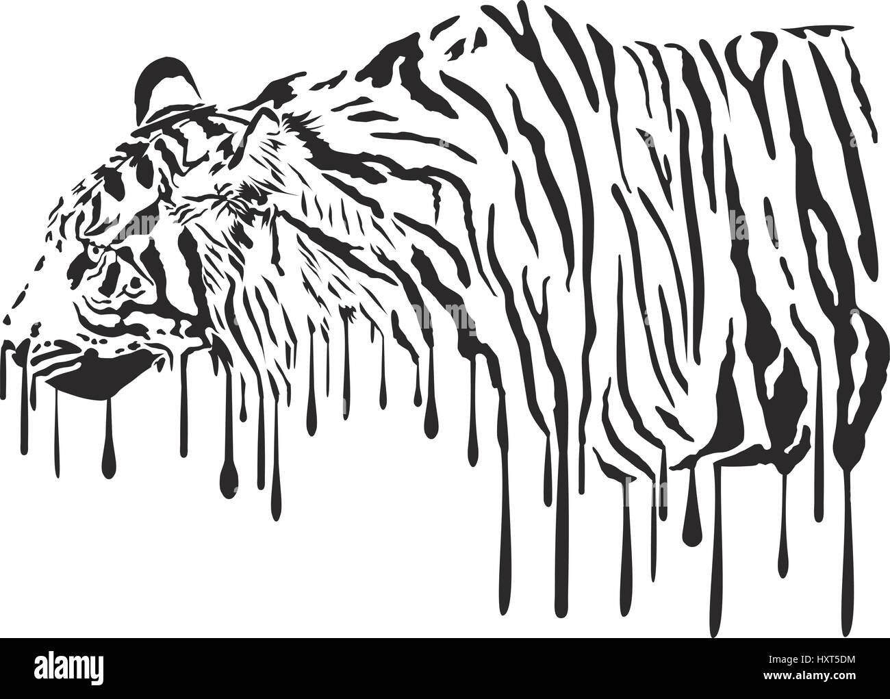 Tiger, Abstract Painting On A White Background - Stock Vector