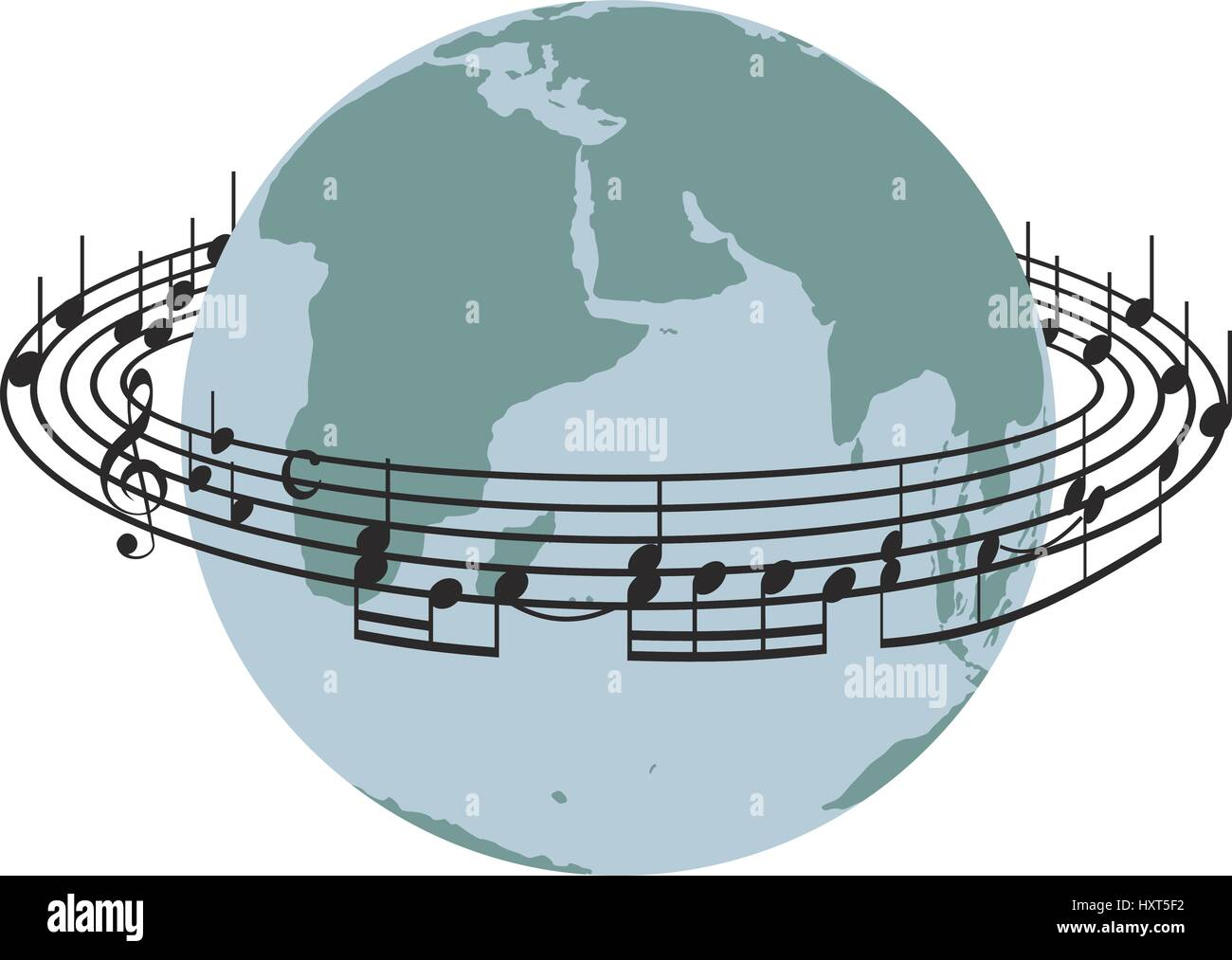 Stave around the planet earth - Stock Image
