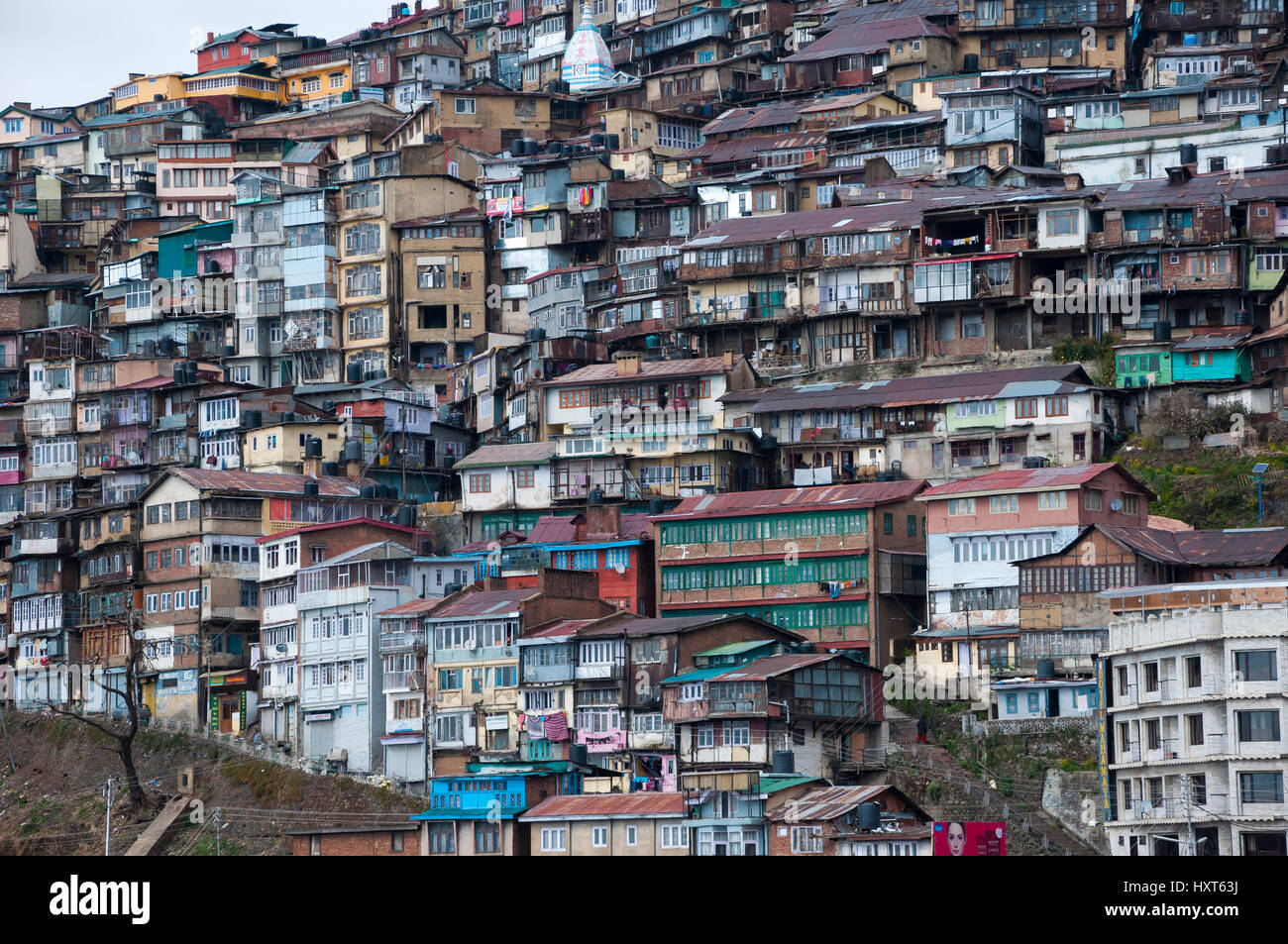 Crowded housing on the hillside in Shimla, Himachal Pradesh, India. - Stock Image