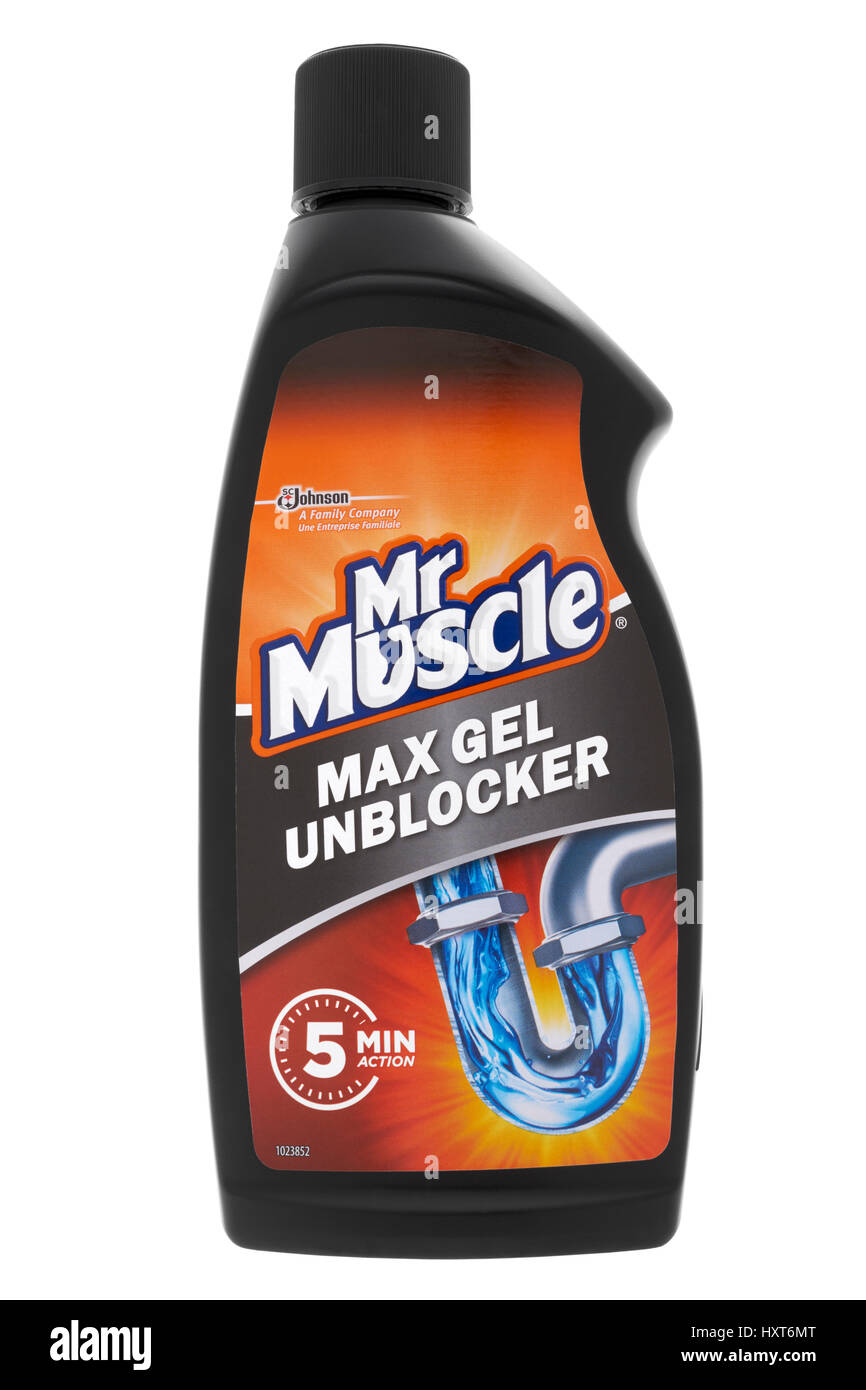 Bottle of Mr Muscle max gel unblocker on white background - Stock Image