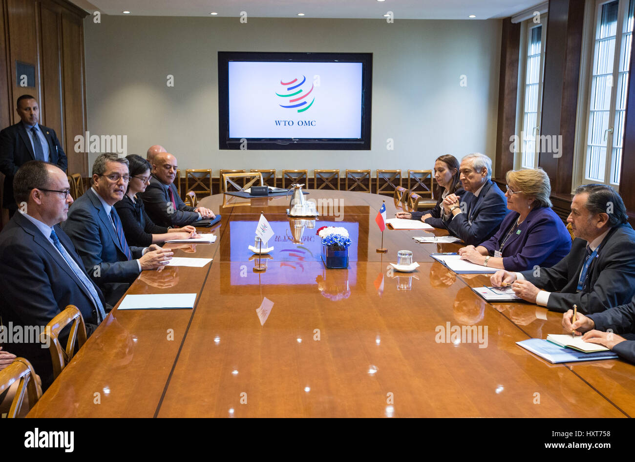 Geneva. 29th Mar, 2017. Chilean President Michelle Bachelet (2nd R) meets with World Trade Organization (WTO) Director Stock Photo