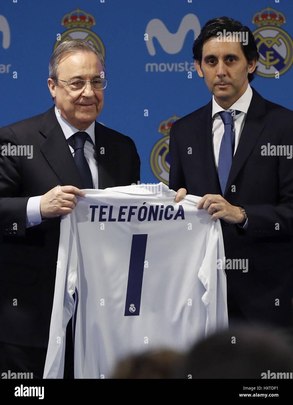 Real Madrid's President, Florentino Perez (L), poses with the President of Telefonica, Jose Maria Alvarez-Pallete, - Stock Image
