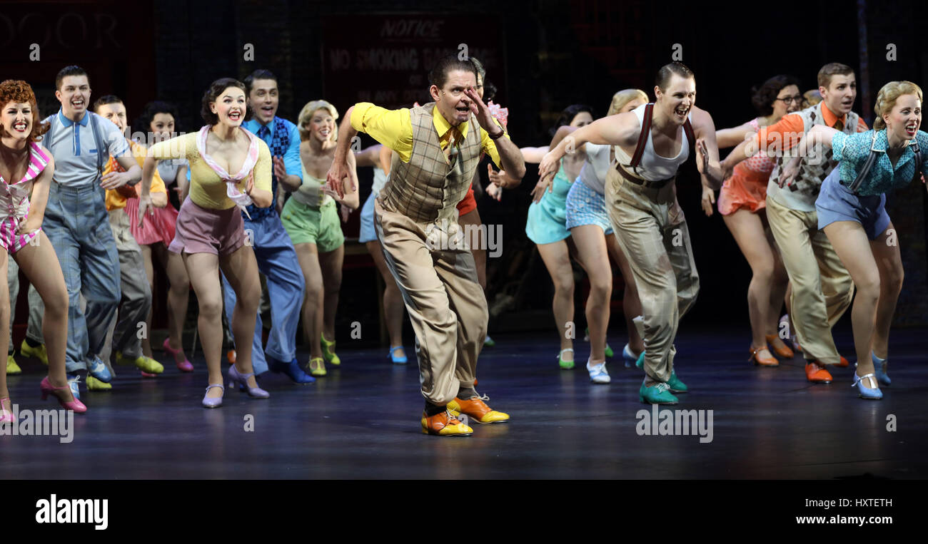 London, UK. 30th Mar, 2017. Pic shows: 42nd Street show at Theatre Royal Drury Lane ensemble cast line up Pic by - Stock Image