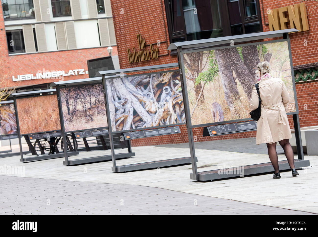 Hamburg, Germany. 30th Mar, 2017. A woman looks at works on display as part of the city of Hamburg's 'Masterfully - Stock Image