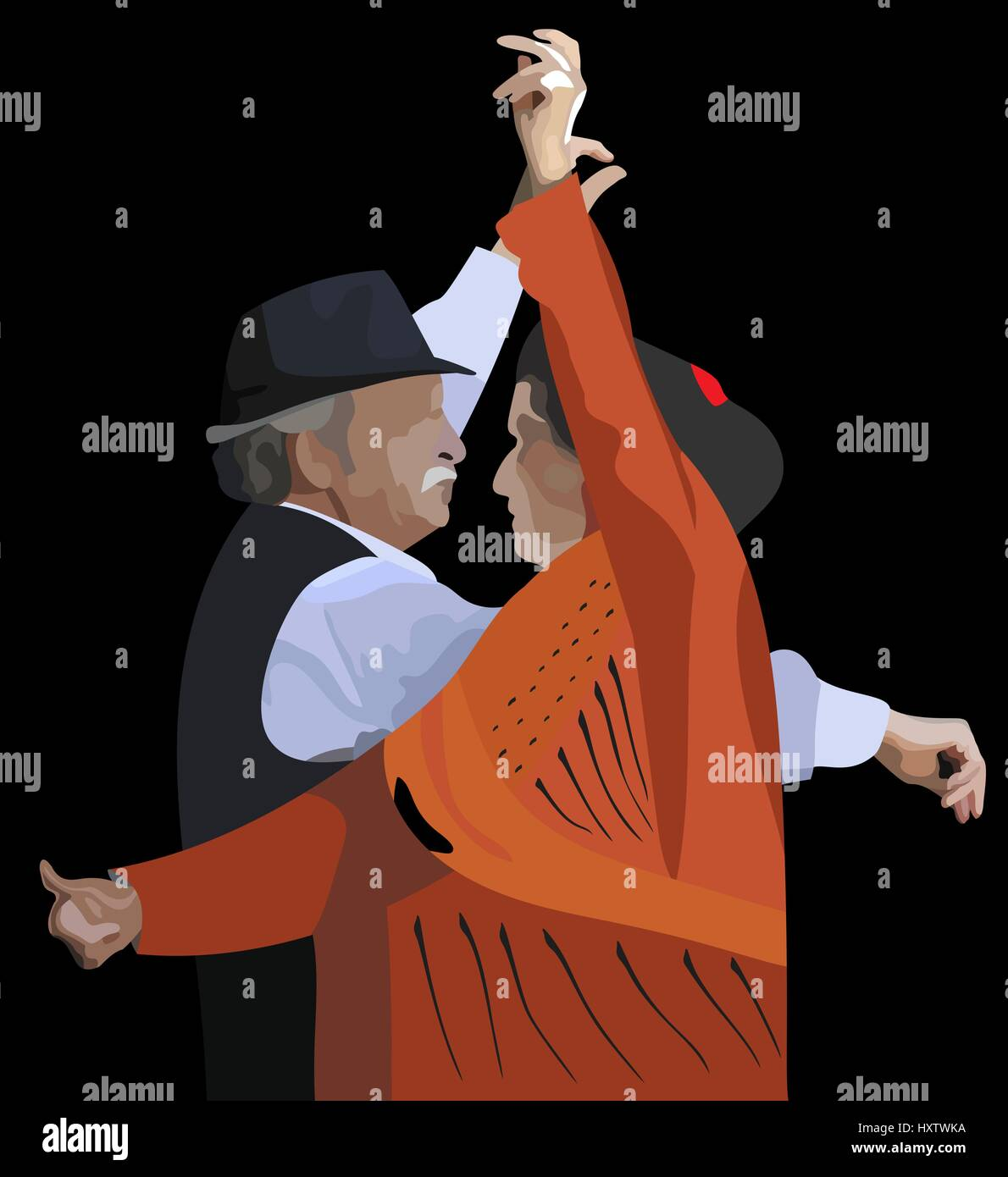 vector illustration of an elderly couple dancing spanish dance - Stock Vector