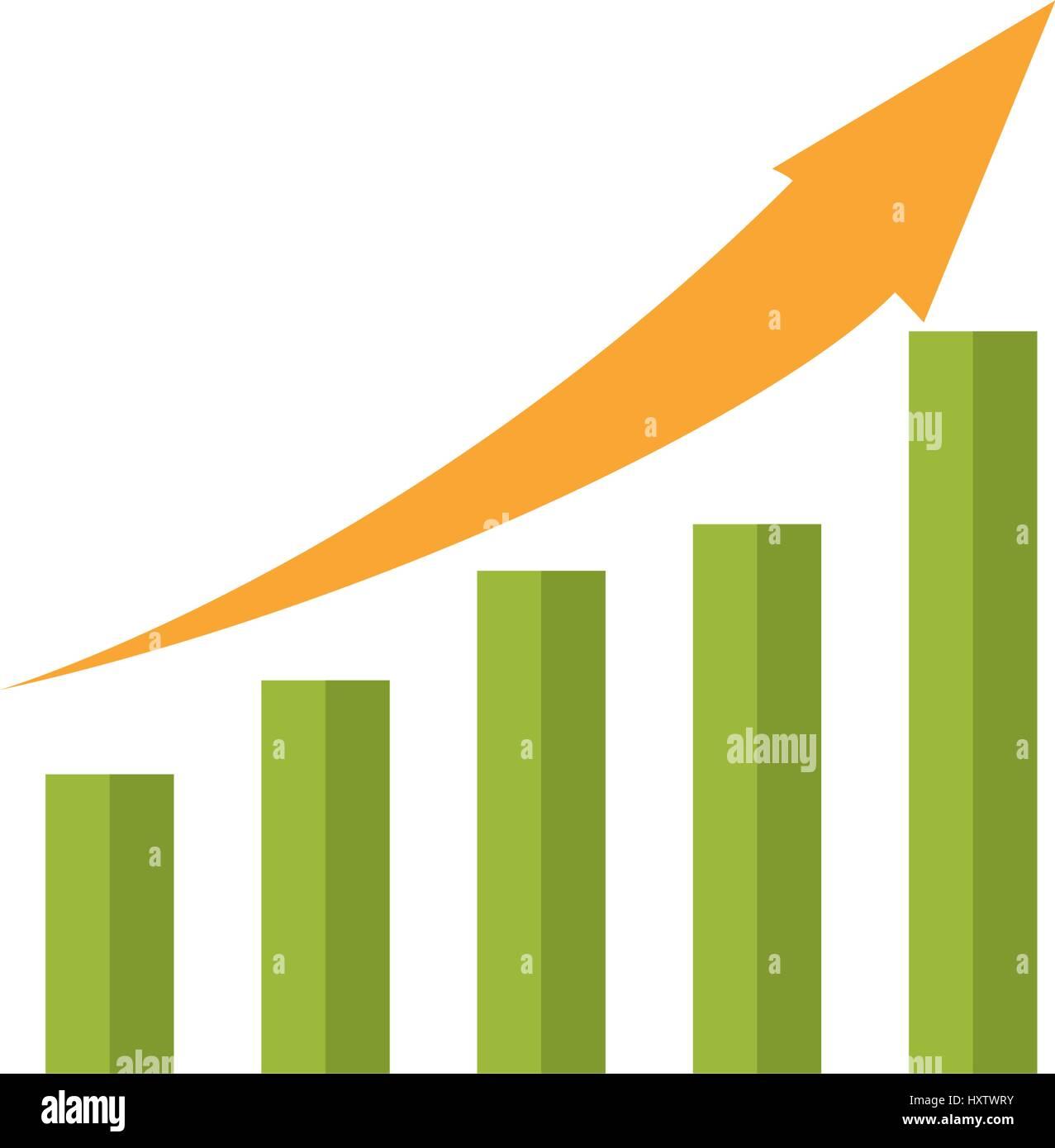 Statistic bars growing - Stock Image