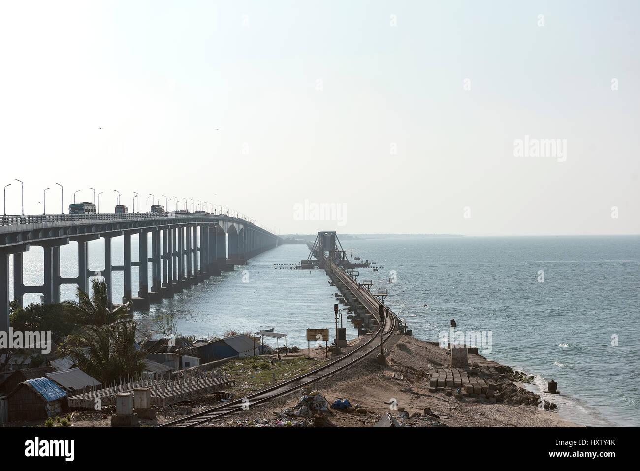 Cantilever Bridge in Pamban, India. - Stock Image