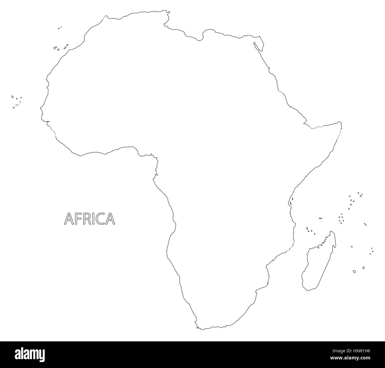 Africa Continent Outline Silhouette Map Illustration