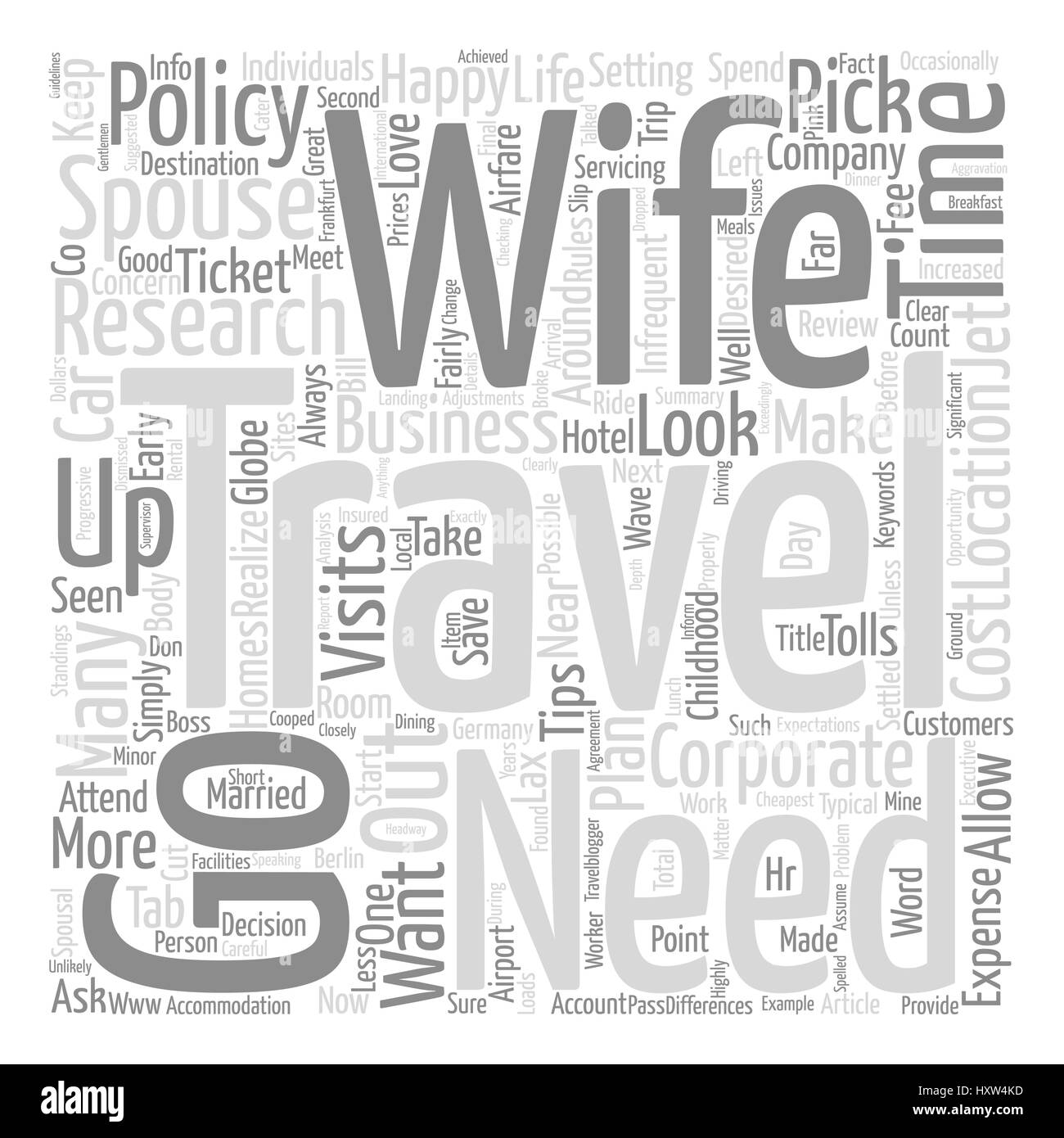 Business Travel With The Wife Word Cloud Concept Text Background - Stock Image
