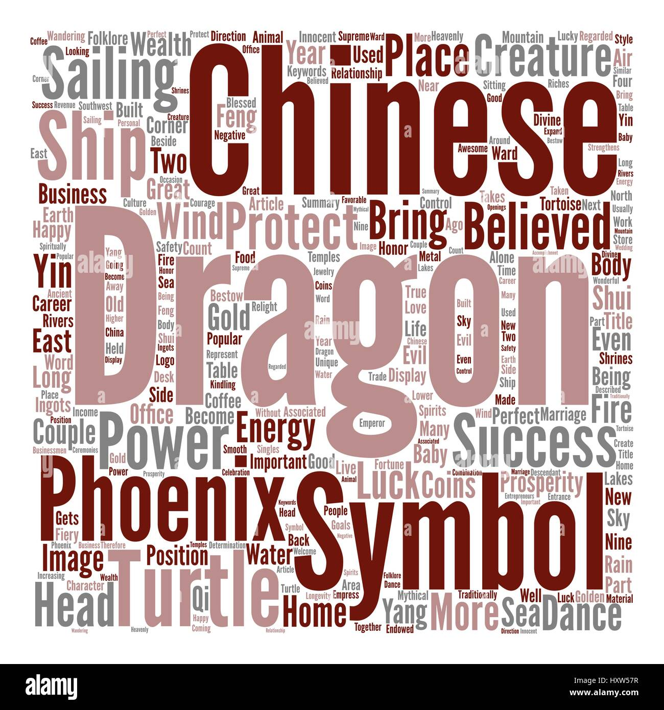 Chinese Good Luck Symbols Part Power Of Chinese Dragons Text Stock
