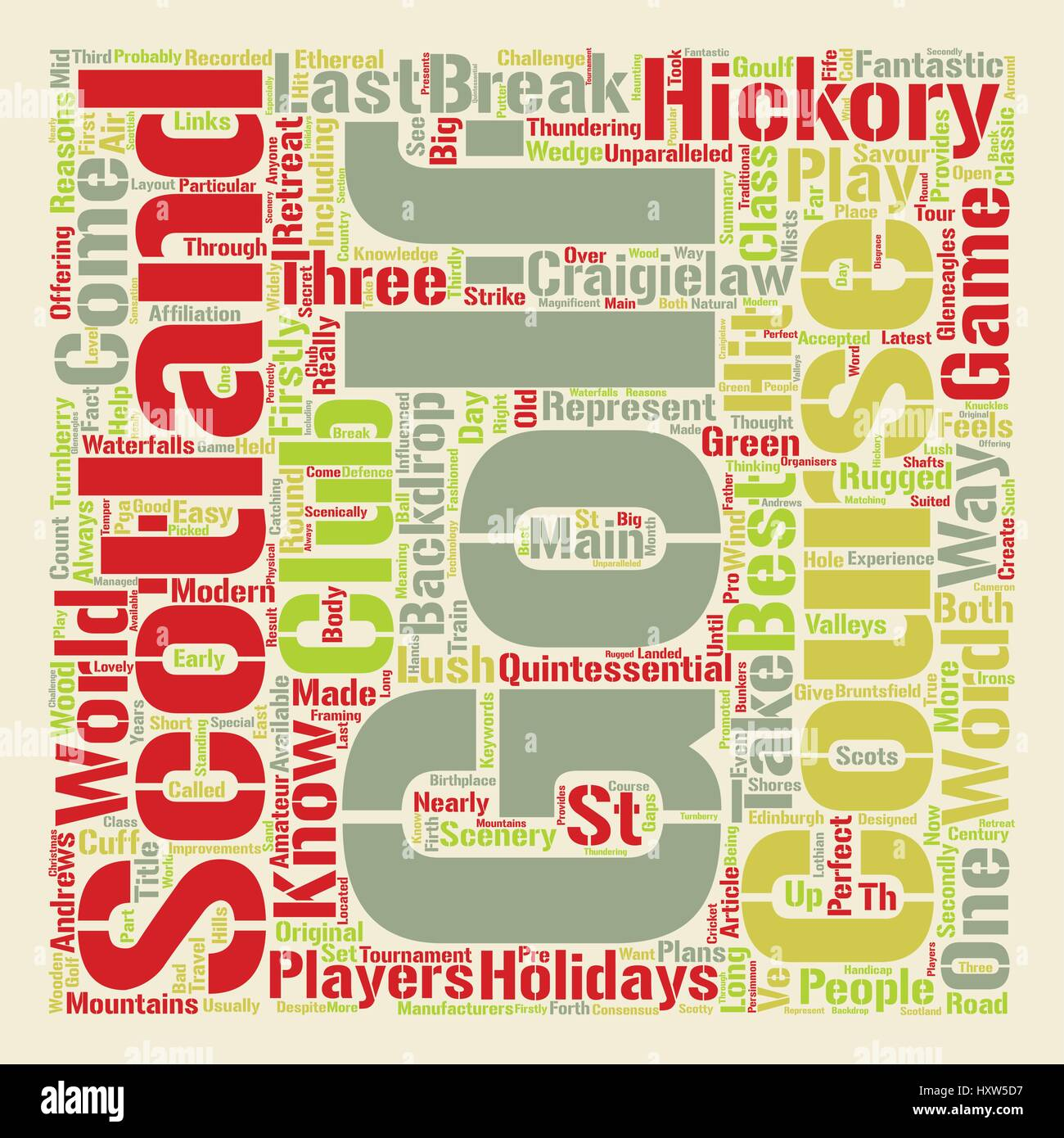 Classic Golf In Scotland text background word cloud concept - Stock Vector