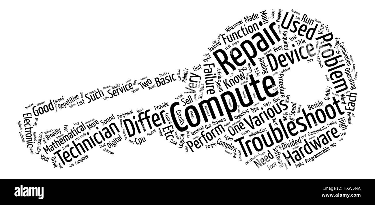 Computer Repair Is A Tricky Business Word Cloud Concept Text Background - Stock Vector