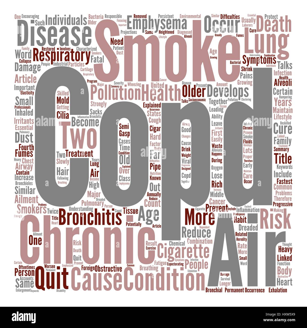 COPD Respiratory Ailment Explained Word Cloud Concept Text Background - Stock Vector
