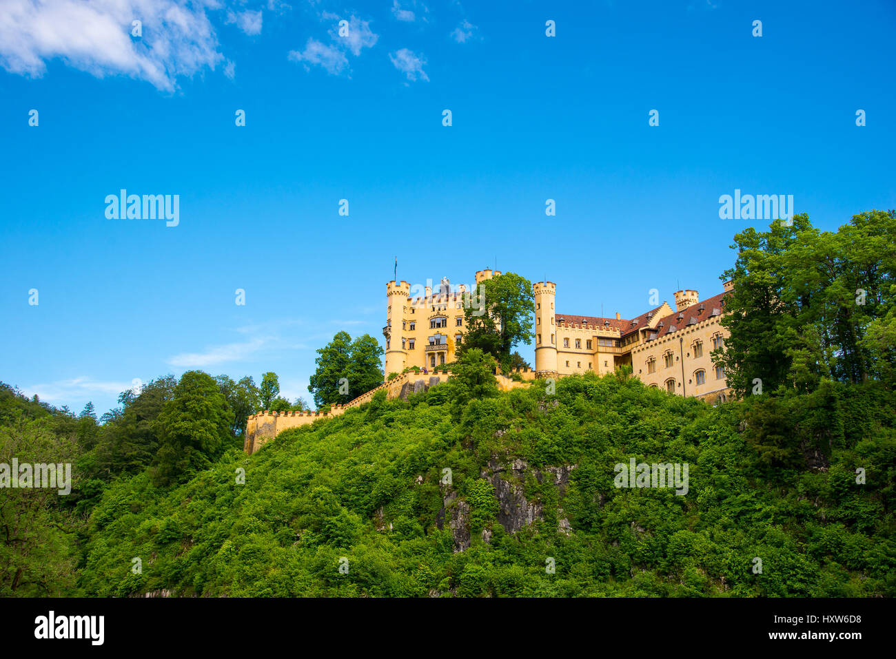 Hohenschwangau Castle or Schloss Hohenschwangau is a 19th-century palace in southern Germany. It was the childhood - Stock Image