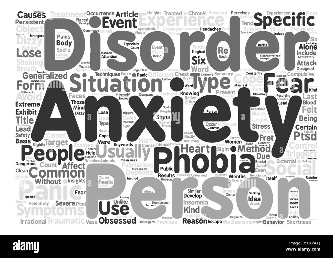 Different Types of Anxiety Disorders text background word cloud concept - Stock Image