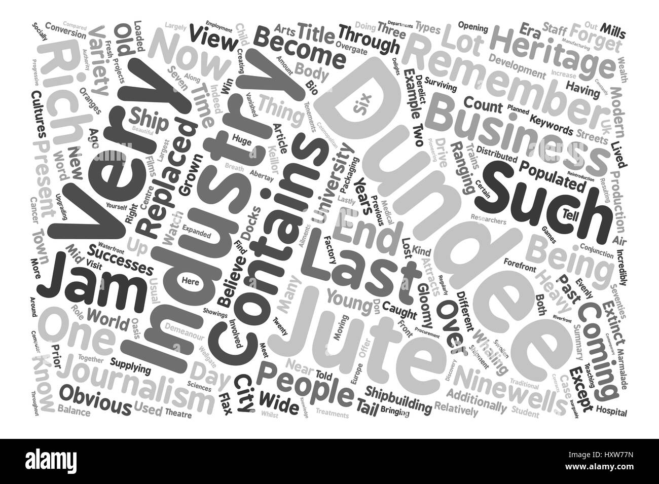 Dundee Past Present text background word cloud concept - Stock Image