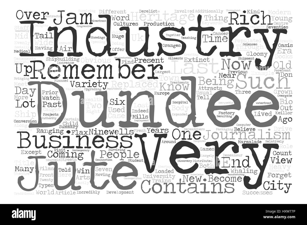 Dundee Past Present Word Cloud Concept Text Background - Stock Image