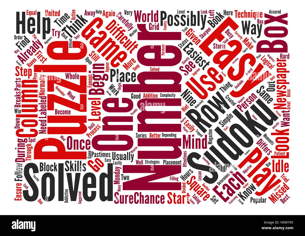 easy sudoku text background word cloud concept - Stock Vector