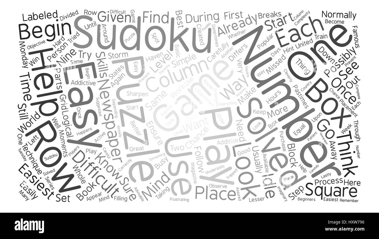 easy sudoku Word Cloud Concept Text Background - Stock Vector