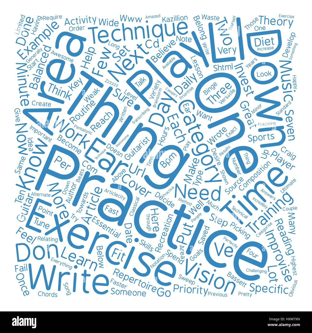guitar players get a balanced practice diet text background word