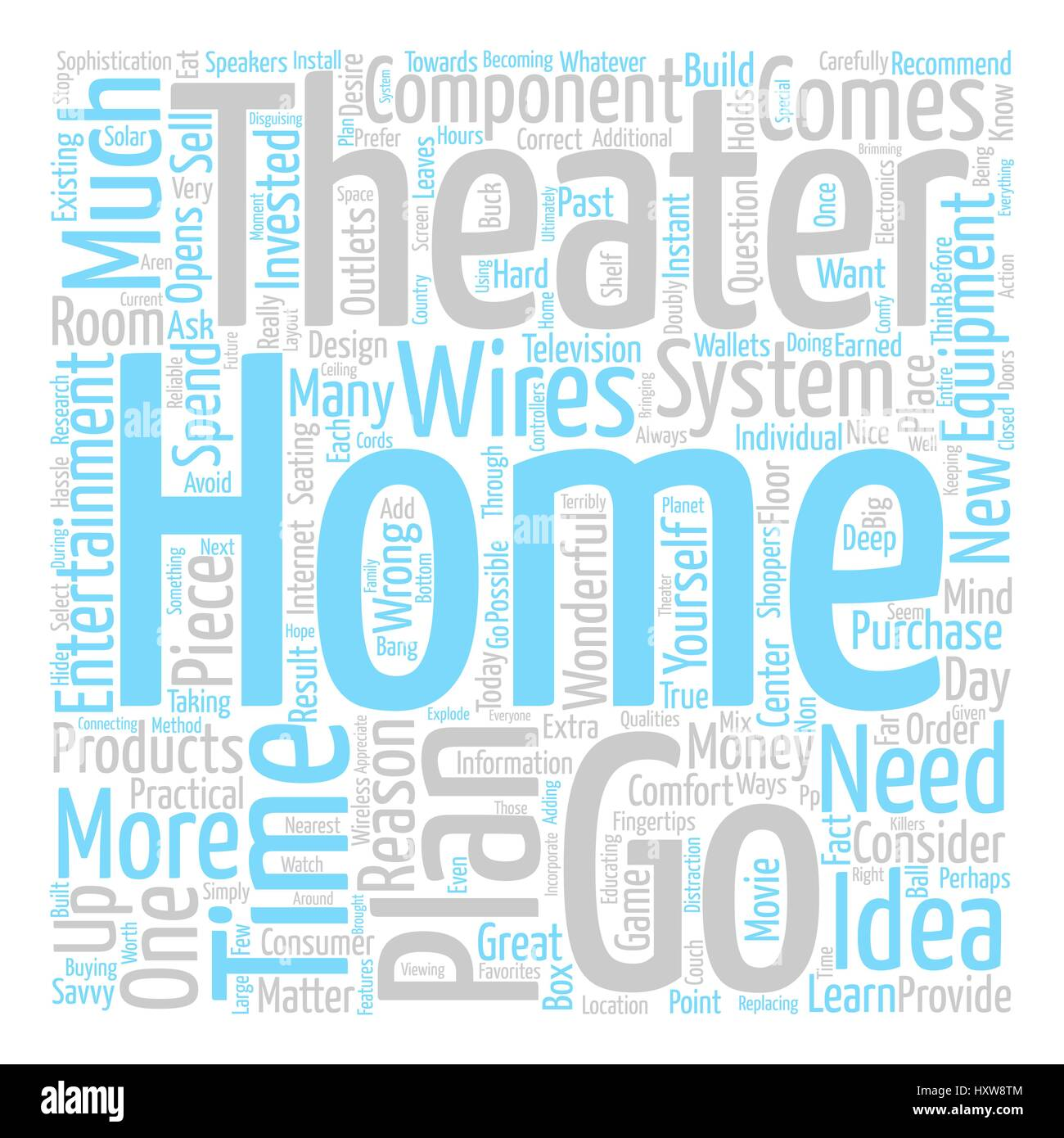 Home Theater Practicalities text background word cloud concept - Stock Image