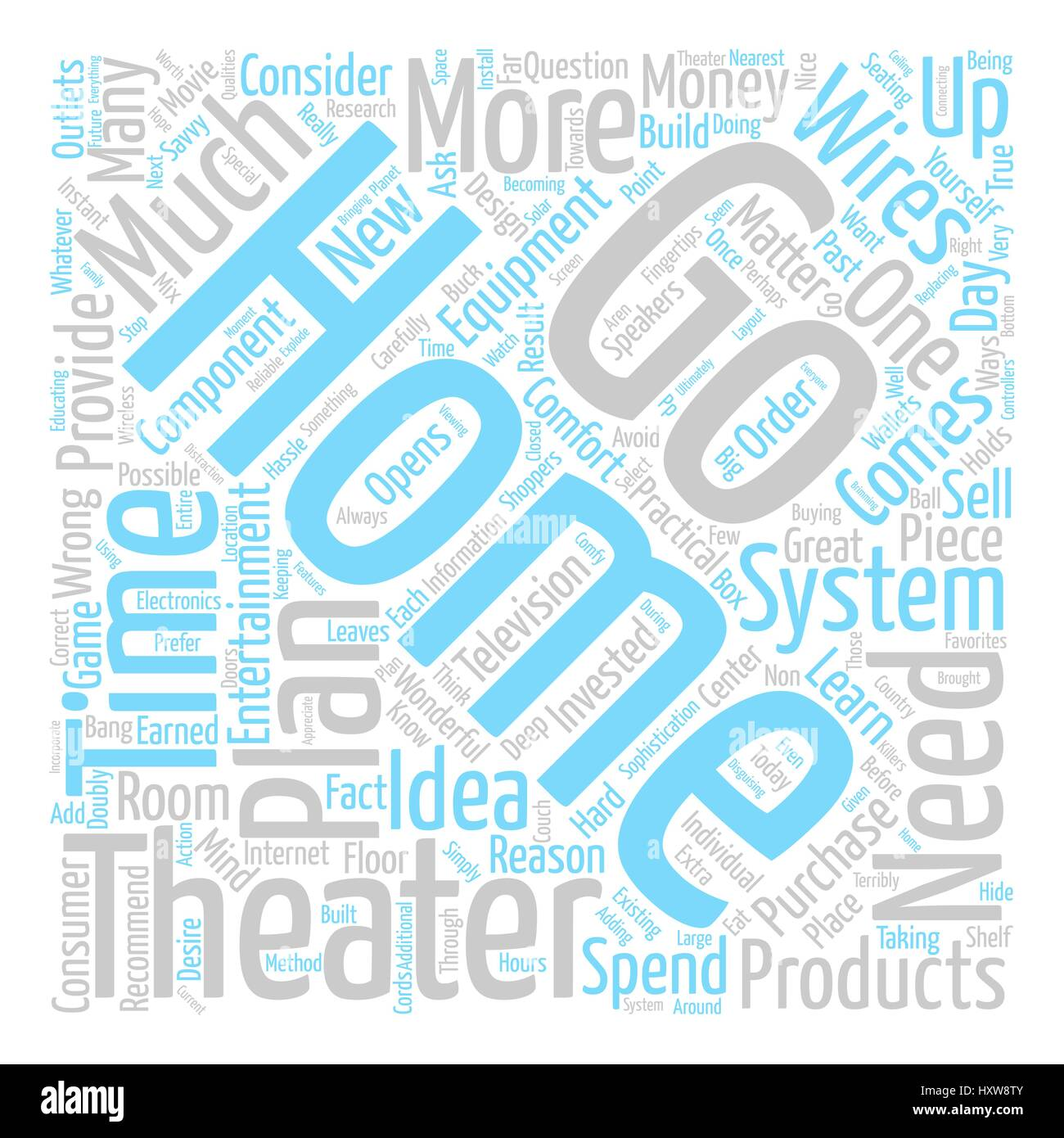 Home Theater Practicalities Word Cloud Concept Text Background - Stock Image