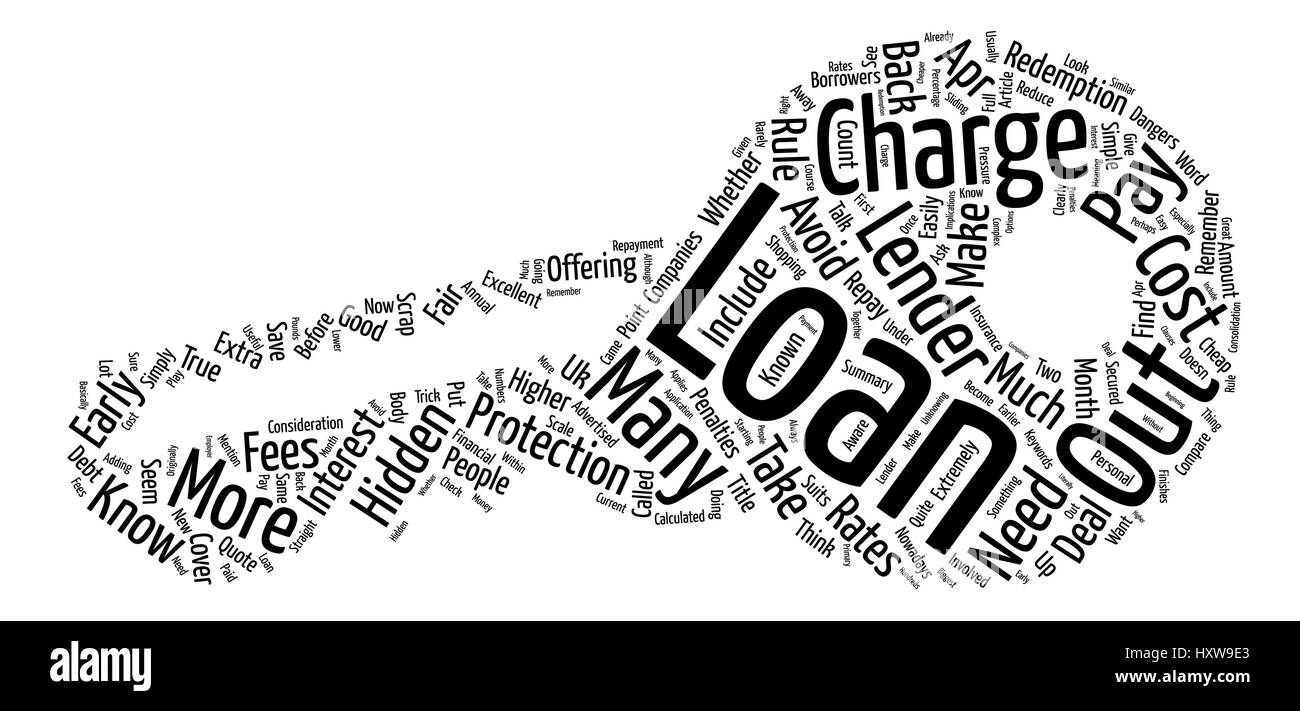 How To Avoid Hidden Loan Charges text background word cloud concept - Stock Image