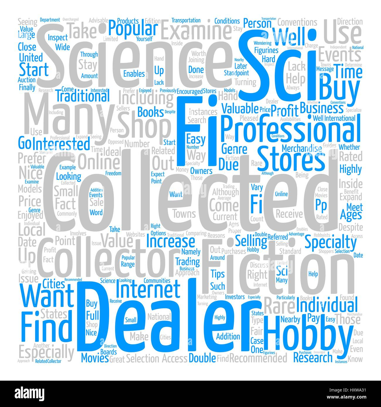 How to Find Sci Fi Collectable Dealers text background word cloud concept - Stock Image