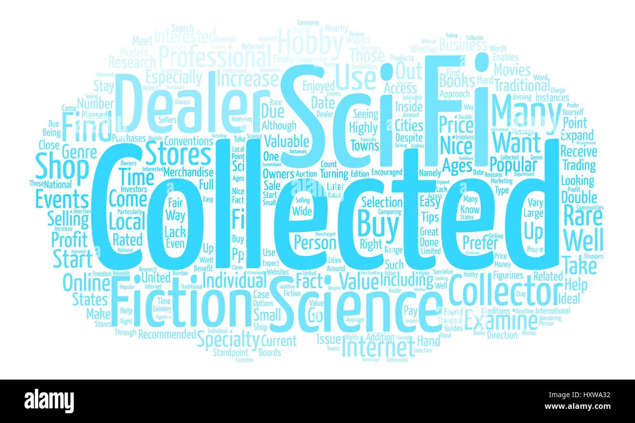 How to Find Sci Fi Collectable Dealers Word Cloud Concept Text Background - Stock Image
