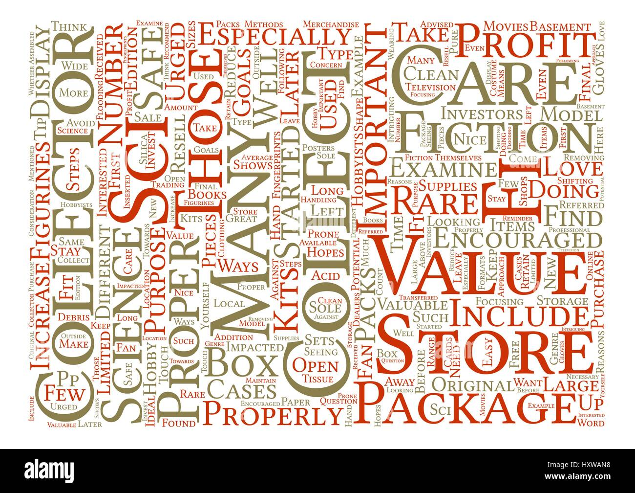 How to Properly Care for Sci Fi Collectables text background word cloud concept - Stock Image