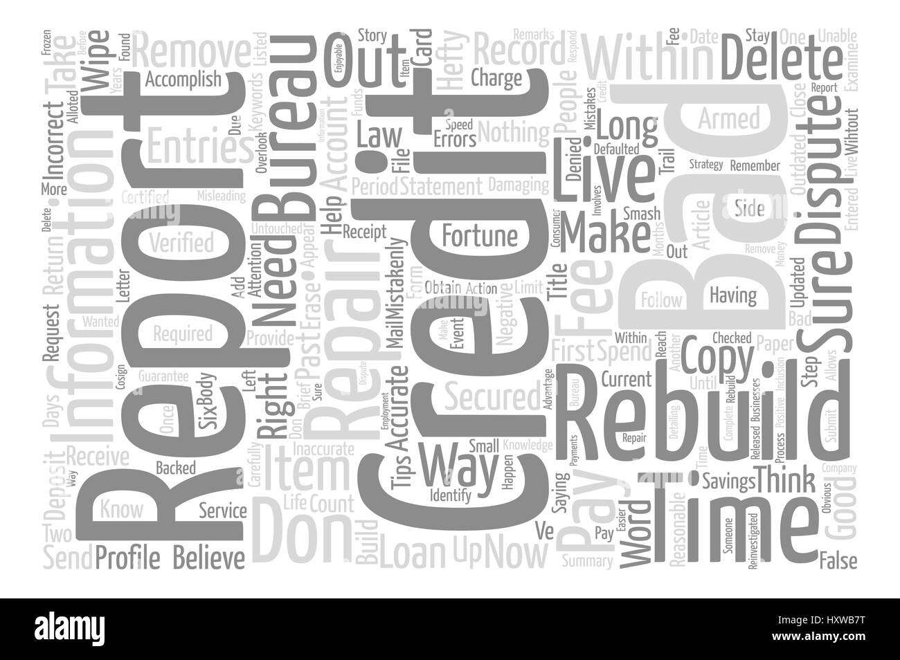 How To Wipe Out Bad Credit And Rebuild Your Credit Report text background word cloud concept Stock Vector