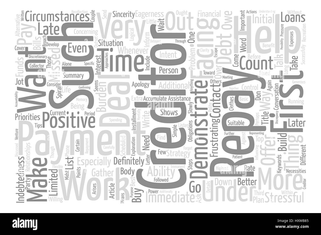 How To Work With Creditors Successfully Word Cloud Concept Text Background - Stock Image