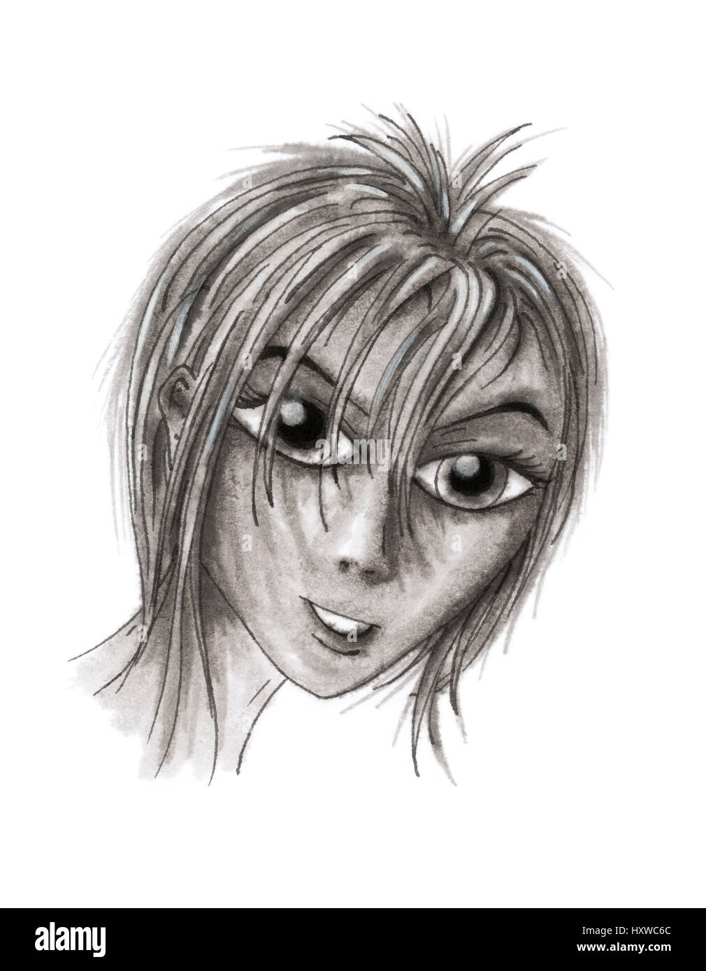 Girl portrait in cartoon style. Ink on rough paper. - Stock Image
